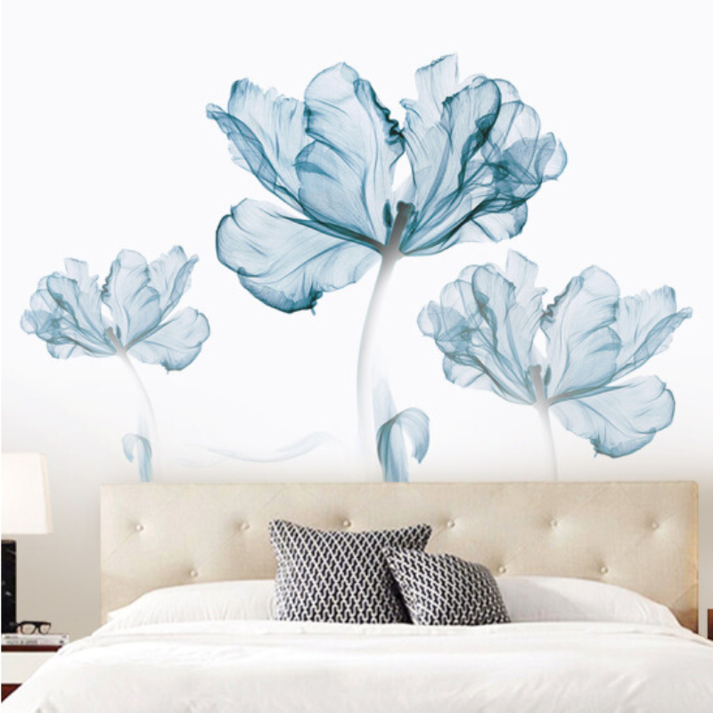 77*110cm Creative Exquisite Flower 3D Wallpaer Home Decor Vinyl Wall Sticker DIY Flower Living Room Bathroom Decoration Poster 1