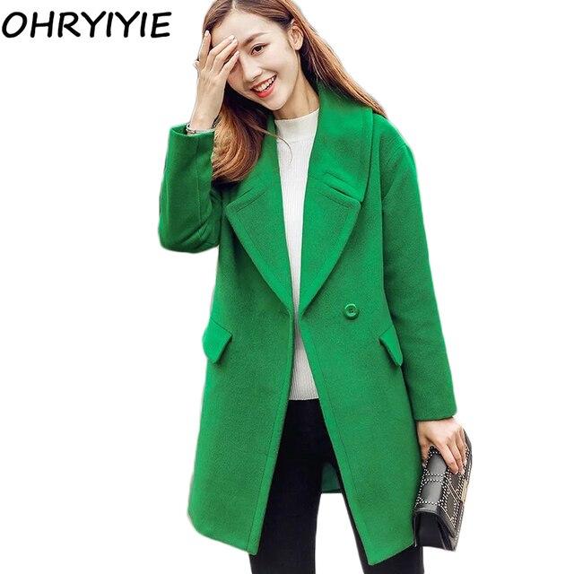 ohryiyie mode vert bleu automne hiver femmes manteau 2017 nouveau manches longues laine. Black Bedroom Furniture Sets. Home Design Ideas