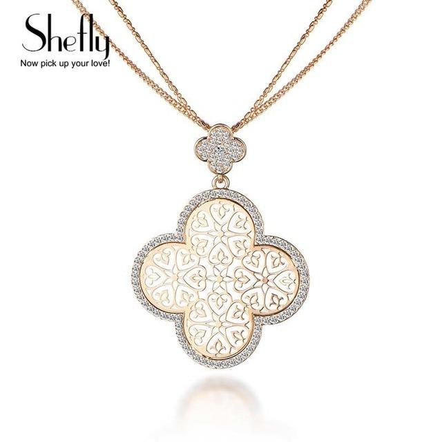 2018 New Four Leaf Clover Necklace Female Silver KC Gold Color Hollow Flower Design Pendant 3
