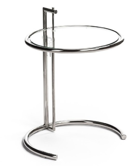 Height Adjustable Eileen Gray Side Table Tempered Glass Top Eileen Gray End  Table Side Table,
