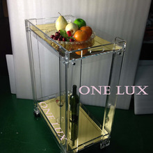 (KD packing)Mirrored Acrylic serving bar cart ,Lucite trolley with wheels