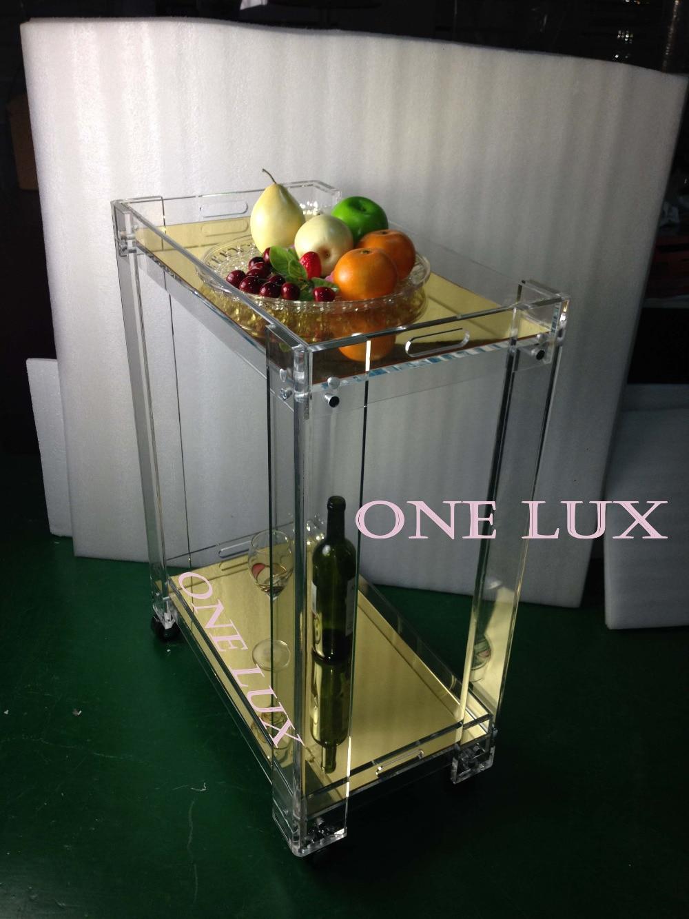 (KD packing) Зеркальная акриловая фототележка люцитовая тележка с колесами bar cart acrylic
