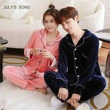 JULYS SONG Autumn Winter Pajamas Set Sleepwear Women Man Pajamas Gold Velvet Top And Pants Pajamas Long Sleeve Homewear