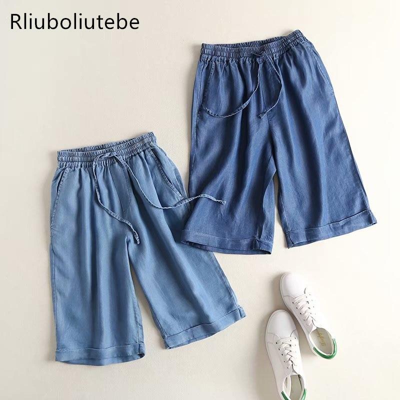 lace up tecel denim knee length   pants   women elastic waist light blue loose   wide     leg     pants   soft Jeans summer trousers pockets
