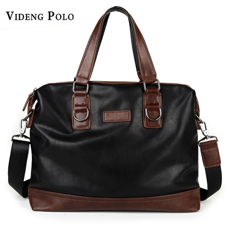 VIDENG POLO Men Bag 2017 Brand Casual Handbag Business Briefcase Leather Messenger Shoulder Bag Large Capacity Laptop Tote high quality authentic famous polo golf double clothing bag men travel golf shoes bag custom handbag large capacity45 26 34 cm
