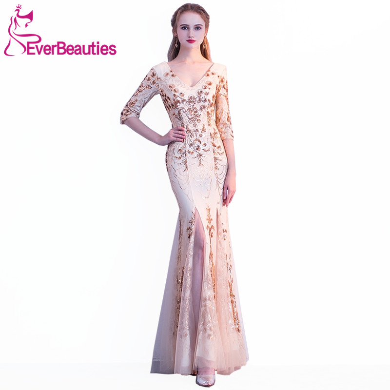 Mermaid Evening Dresss Long 2018 font b Sequins b font Half Sleeves Elegant Evening Gowns V