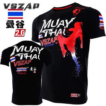 VSZAP nowy boks MMA T Shirt siłownia koszulka walki walki sztuki walki trening Fitness Muay Thai T Shirt mężczyźni Homme tanie i dobre opinie Koszulki Zapobiega marszczeniu oddychająca Odporna na mechacenie Szybkoschnące Sukno POLIESTER COTTON SHORT Dobrze pasuje do rozmiaru wybierz swój normalny rozmiar