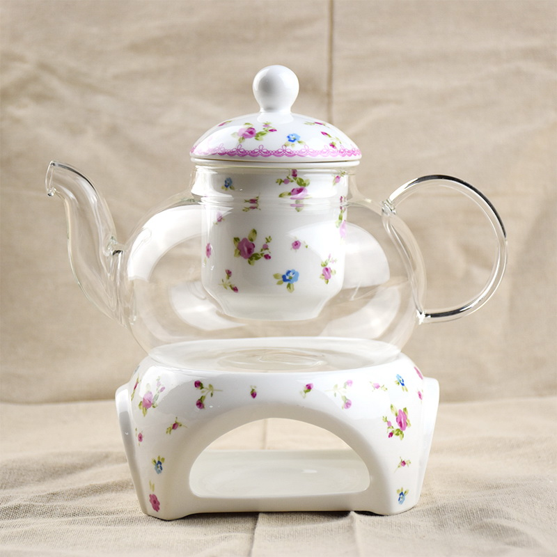 Flower Tea Set Porcelain Heat Resistant Glass Tea Pot Infuser Ceramic Coffee Cups And Saucers Drinkware Teapot Coffee