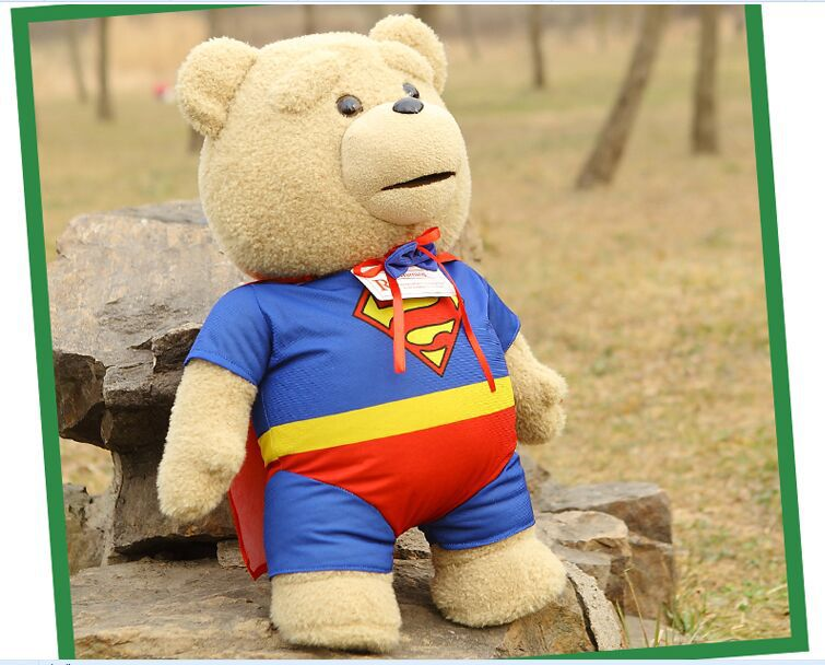big creative plush teddy bear doll lovely Superman clothes Ted bear toy gift about 60cm new plush gentle teddy bear toy creative suit bear doll gift about 50cm