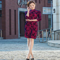 Hot Traditional Chinese Dress Winter Cheongsam Vintage Evening Dress Long Sleeve Velour Qipao Dress Chinese Clothing Store XXXL
