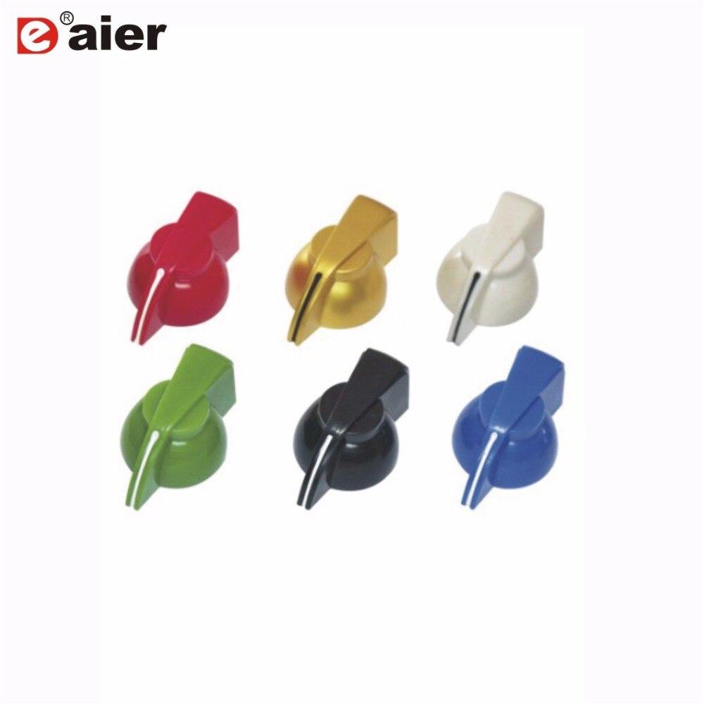 6PCS K7-1 Hole 6.35mm Shaft Plastic Control Knob Chicken Head Beaks Band Switch Potentiometer With Brass Insert Set Screw