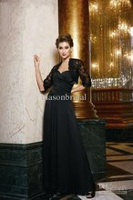 Pleated Evening dresses Sexy Black Mother of the Bride Dress Satin&Chiffon Sheath Sweetheart long sleeves jacket free shipping