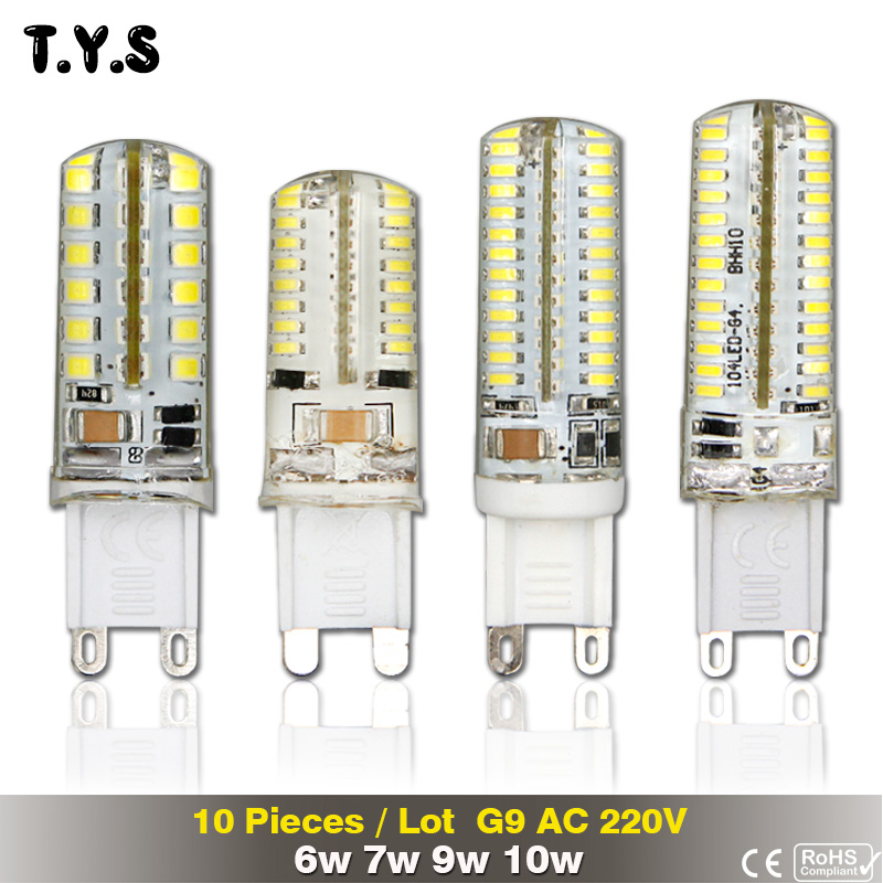 10pcs/lot G9 Led 220v 6W 7W 9W 10W Bombillas Led Lights Lamparas Led Light Bulb G9 2835 3014 High Power Led Replace Halogen Lamp