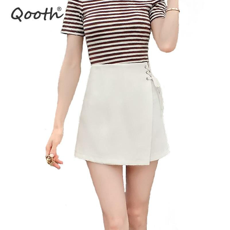 da4149cac Qooth 2018 falda de verano de mujer de encaje corto Skort alta cintura  sólida estilo Preppy falda ...
