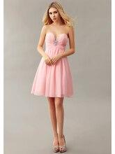 Sexy Eine linie Chiffon-Kleid 2016 Trägerlosen Schatz Kurz Cocktailkleider Kristall Plissee Prom Kleider cd10291