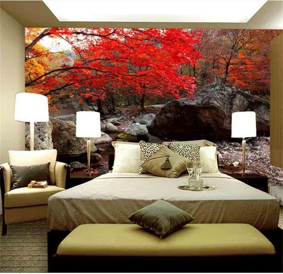 custom 3d photo wallpaper bed room mural forest red leaves stone 3d painting sofa TV background non-woven wallpaper for wall 3d