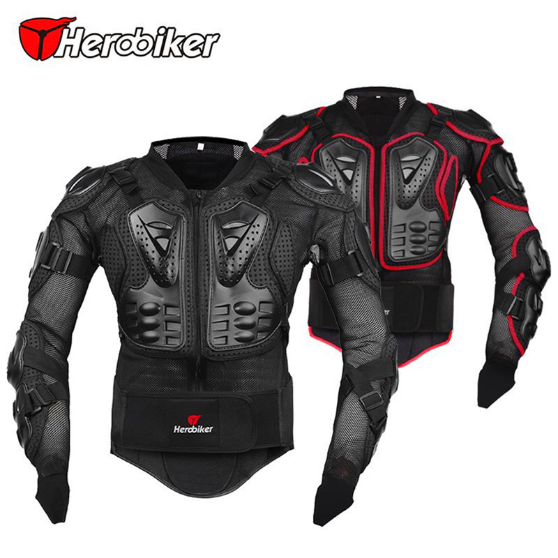 HEROBIKER Professional Motocross Off-Road Protector Motorcycle Full Body Armor Jacket Motorbike Protective Gear Clothing 5 Sizes herobiker armor removable neck protection guards riding skating motorcycle racing protective gear full body armor protectors
