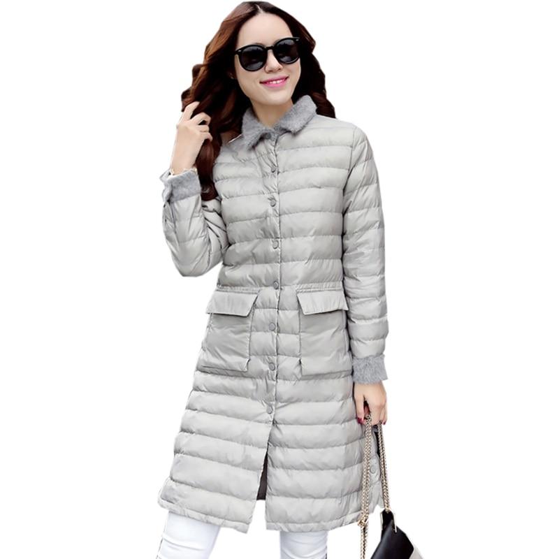 Light Thin Down Coat Female 2017 Autumn Winter Long Slim Parkas White Duck Down Jacket Outwear Women Jacket Coats FP0156