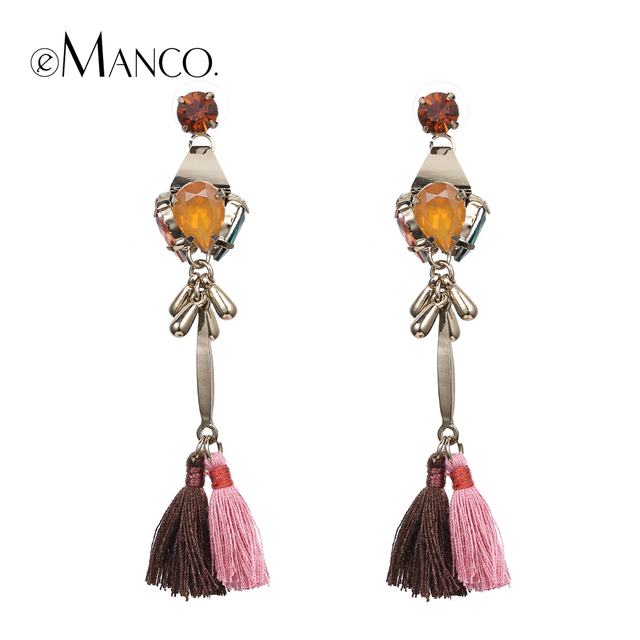 Tassels long dangle earrings for women 2016 new winter gold plated crystal alloy long drop earring pendientes largos eManco