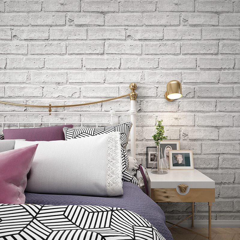 US $26.4 27% OFF|Vintage Rustic White Brick Wallpaper Roll Papel De Parede  3D Bedroom Living Room Restaurant Modern Vinyl Wall Paper Home Decor-in ...