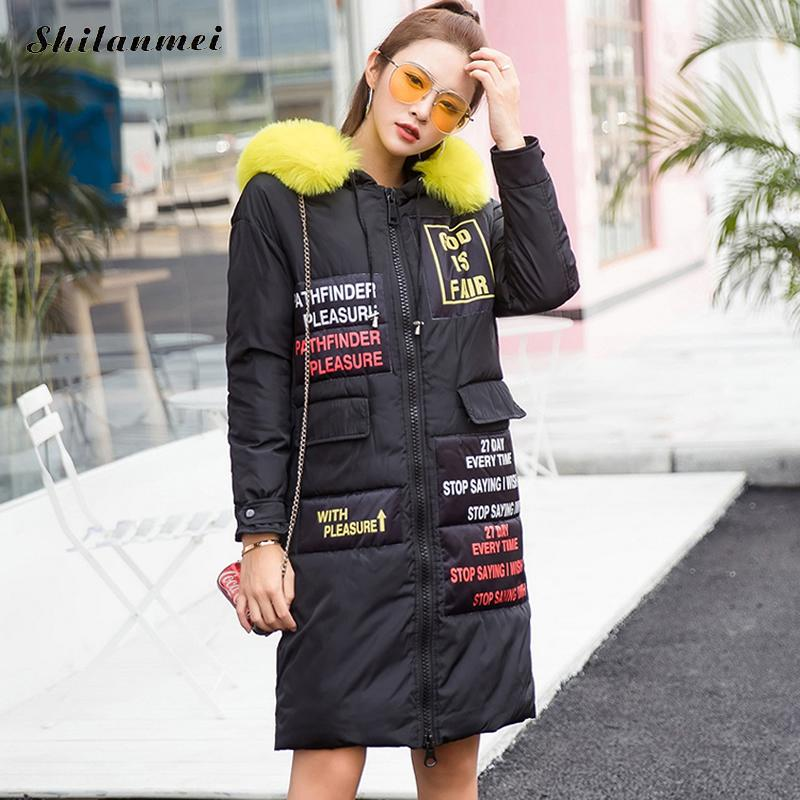 New Women's Winter Jacket Coat Thicker letter Print Women Parka manteau femme hiver Fur Collar Long Hooded Coat Padded Outerwear new 2017 winter autumn cotton short basic jacket women hooded casaco coat warm manteau hiver femme fur collar slim coats
