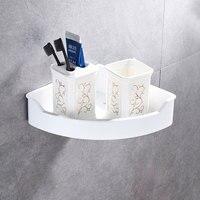 Modern Stainless Steel Corner Basket Bathroom Shampoo Soap Cosmetic Shelves White Storage Organizer Rack Bathroom Accessories