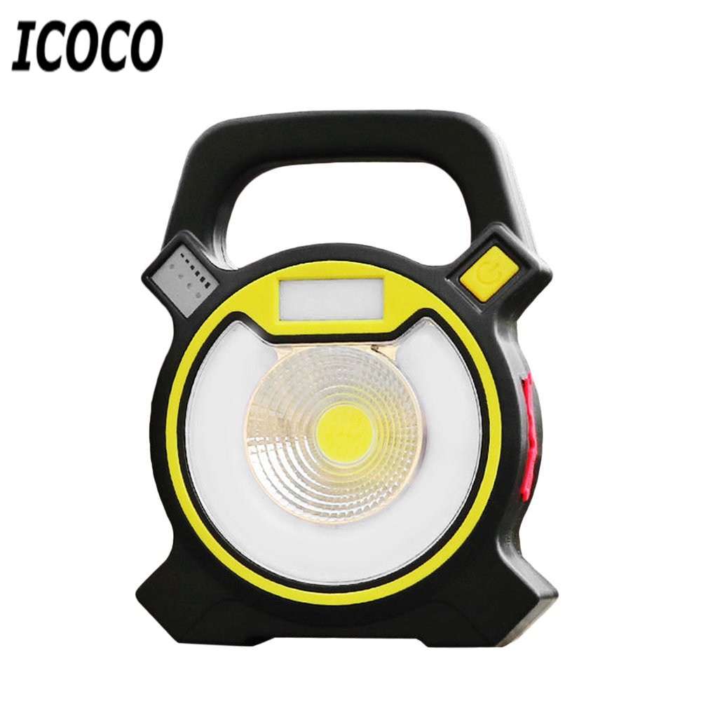 ICOCO Portable USB Rechargeable 3OW COB LED Floodlight 4 Modes Spotlight Night Light Blue & Flashing Ultr-bright Warning Light