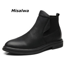 Misalwa Top Quality Men Leather Boots Warmest Comfortable Chelsea Boots 2019 British Style Shoes Black Ankle Boots Pointed Toe