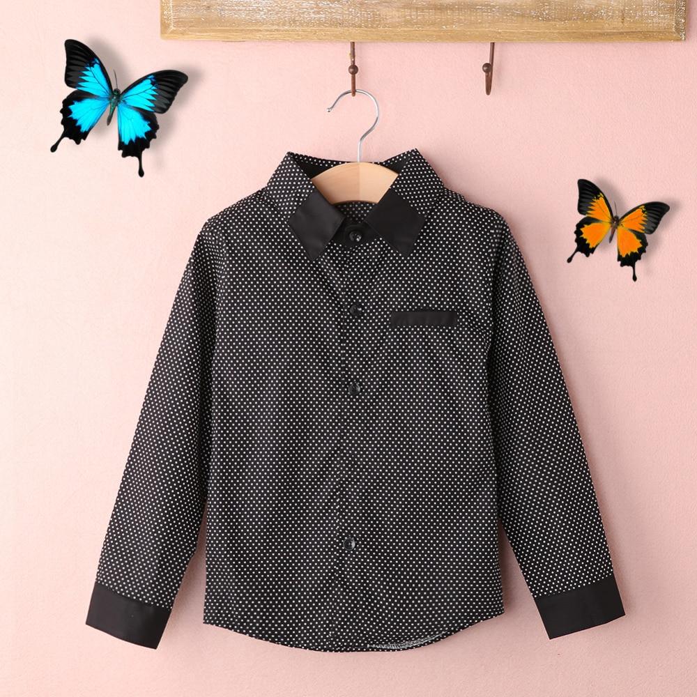 2017 New Fashion Kids Boys Formal Shirt Plain Long Sleeved Polka Dot Lapel Party Shirt Wholesale цены онлайн