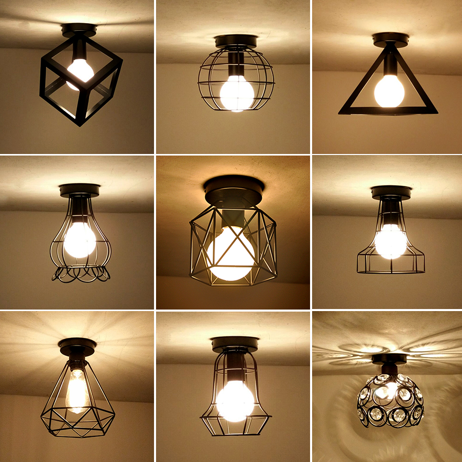 Kitchen Lighting Fixtures Ceiling: Vintage Ceiling Lights Iron Black Ceiling Lamp Retro Cage
