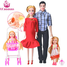 Family 5 People Dolls Suits 1 Mom /1 Dad /2 Little Kelly Girl /1 Baby Son/1 Baby Carriage Real Pregnant Doll Gifts Free Shipping