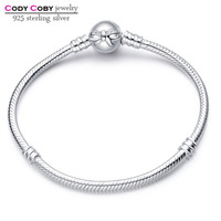 925 Sterling Silver Bow Bracelet Snake Chain With Knot Clasp Bracelets For cody coby charms Women Men berloque pulsera Jewelry