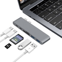 Здесь можно купить   GOOJODOQ Dual USB C Hub SD/TF/Micro SD Card Reader Type C hub to 2 Ports USB 3.0 Type-C Power Port USB C hub For Macbook Pro Air Computer Peripherals