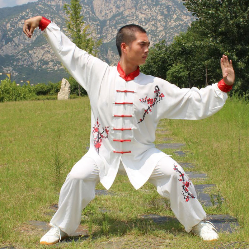 USHINE HX12 White Chinese Style Plum Blossom TaiChi Long-sleeve KungFu Uniform Wushu TaiChi Uniform Taichi Clothes Adult Child