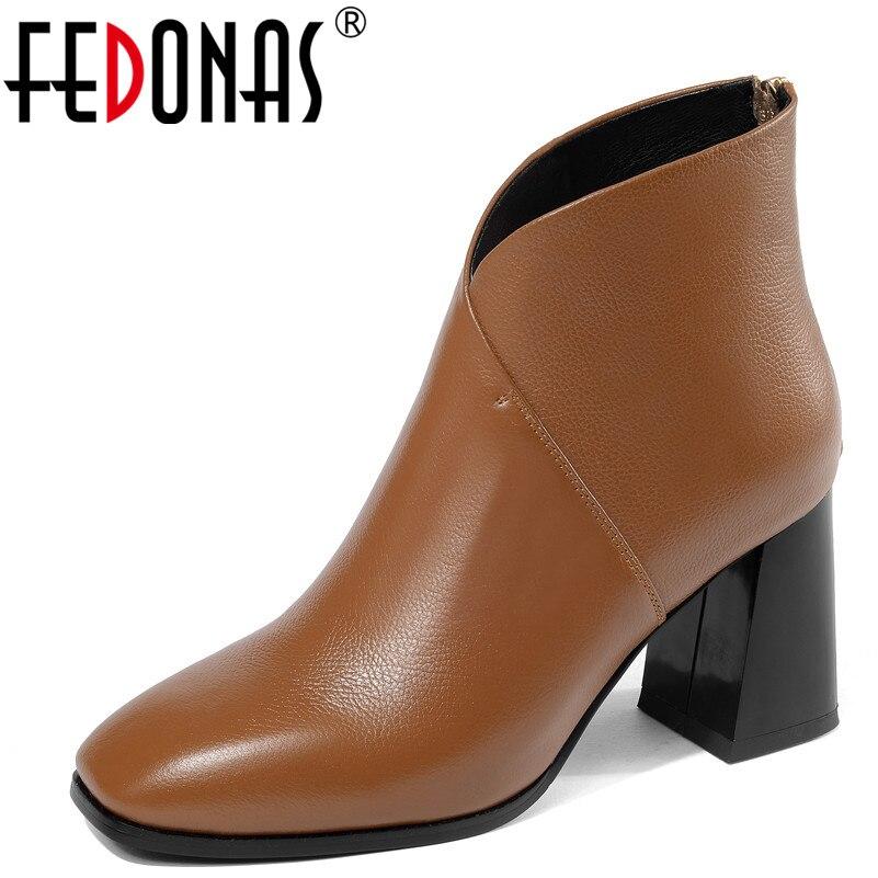 FEDONAS 1New 到着女性秋冬暖かい本革ハイヒールの靴女性ラウンドトウエレガントなオフィスの靴  グループ上の 靴 からの アンクルブーツ の中 1