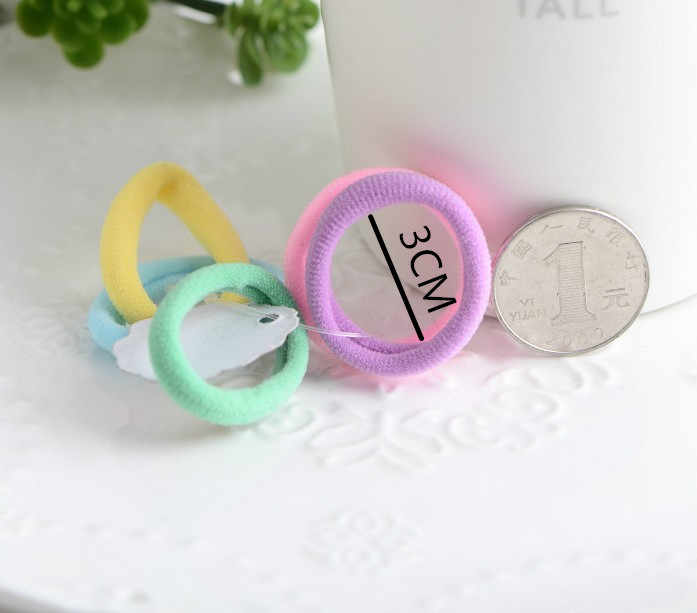 1/10pcs 3cm Rainbow color girls Elastic Hair Bands baby knitting Head rope hair accessories for kids