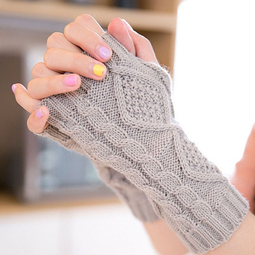 Bastante elegante mano invierno guantes mujeres brazo Crochet faux ...