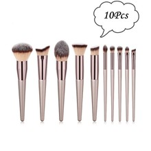 10Pcs Champagne Makeup Brushes Set For Foundation Powder Blush Eyeshadow Concealer Lip Eye Make Up Brush Cosmetics Beauty Tools