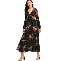CharMma 2017 New Fashion Autumn Spring Dress Women Empire Waisted Floral Print Maxi Dress Vintage Long