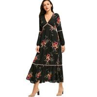 CharMma 2017 New Fashion Autumn Spring Dress Women Empire Waisted Floral Print Maxi Dress Vintage Long