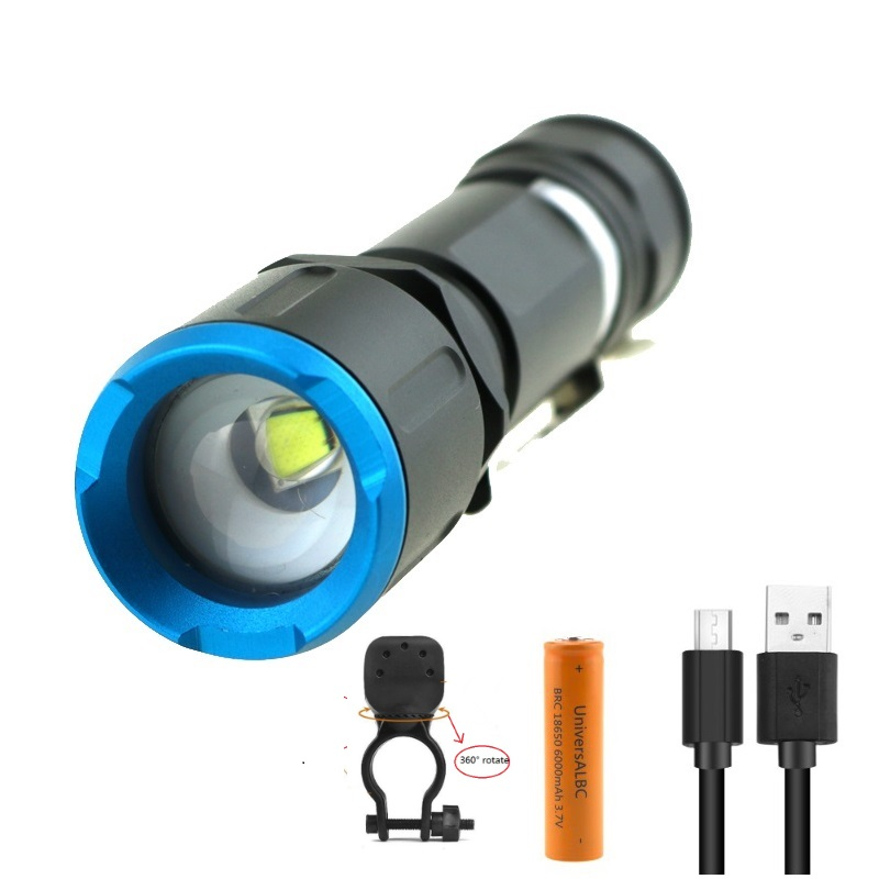 <font><b>USB</b></font> Rechargeable <font><b>Bike</b></font> <font><b>Light</b></font> <font><b>Set</b></font> 3800 Lumen Bicycle Zoomable Flashlight LED Front Cycling Lamp With 18650 Battery Xmas Gift image