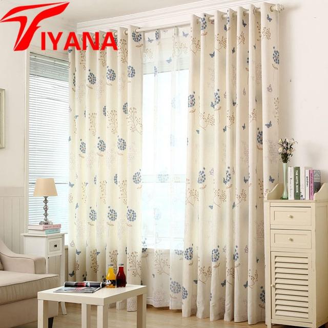 Tela gruesa cortina rústica flor diente de león cortina de ventana ...
