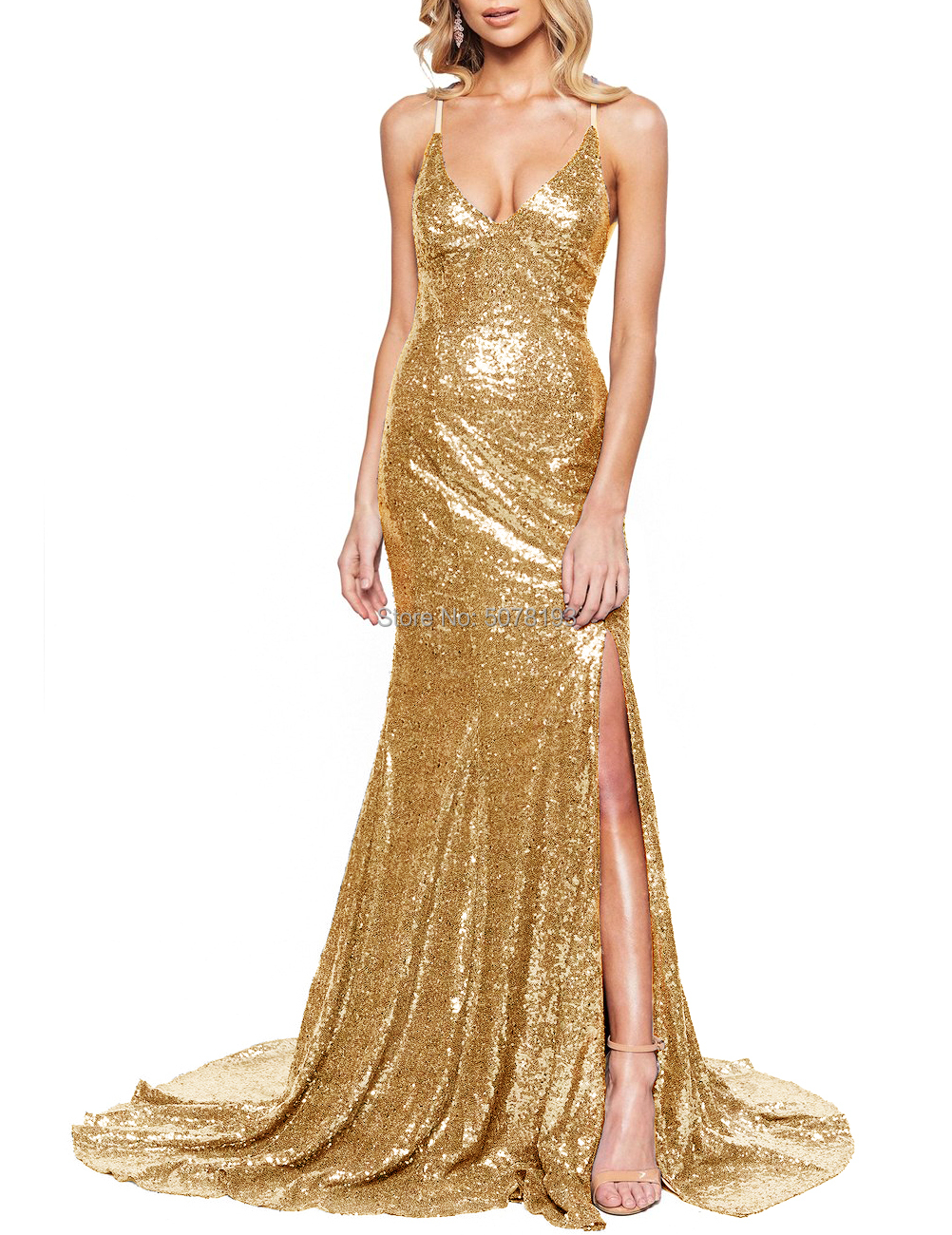 New in V-neck Spaghetti straps natural mermaid/trumpet sequins floor-length sweep trailing dress/gown slit free shipping