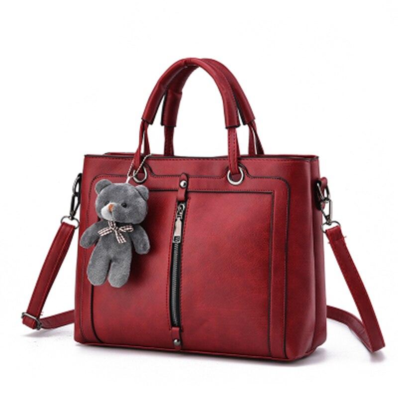 PONGWEE High Capacity Women High quality PU Bag Luxury Red Retro Vintage Bag Designer Handbags Cute Bear Tote Shoulder Ladies