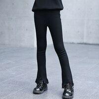 New 2017 Spring Autumn Kids Trousers Girls Pants Black Leggings Girl Children Fashion Tassel Fringe Flare