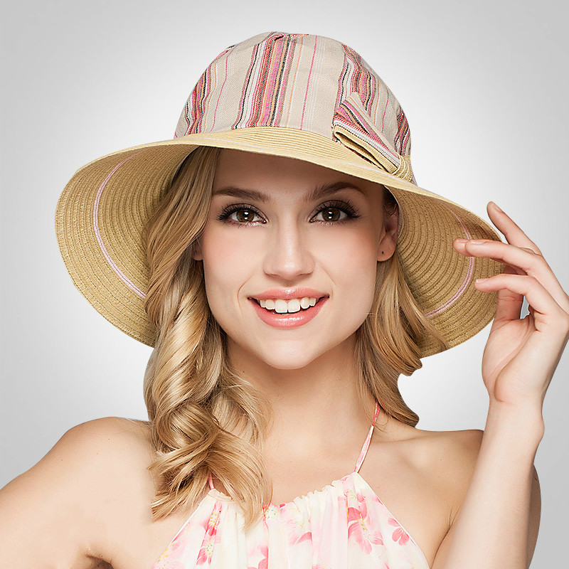 Flight Tracker 2017 New Style Fresh Cotton And Linen Stripe Splicing Big Bow Ladies Summer Vacation Sun Hat Sun Hat Sunscreen New Varieties Are Introduced One After Another