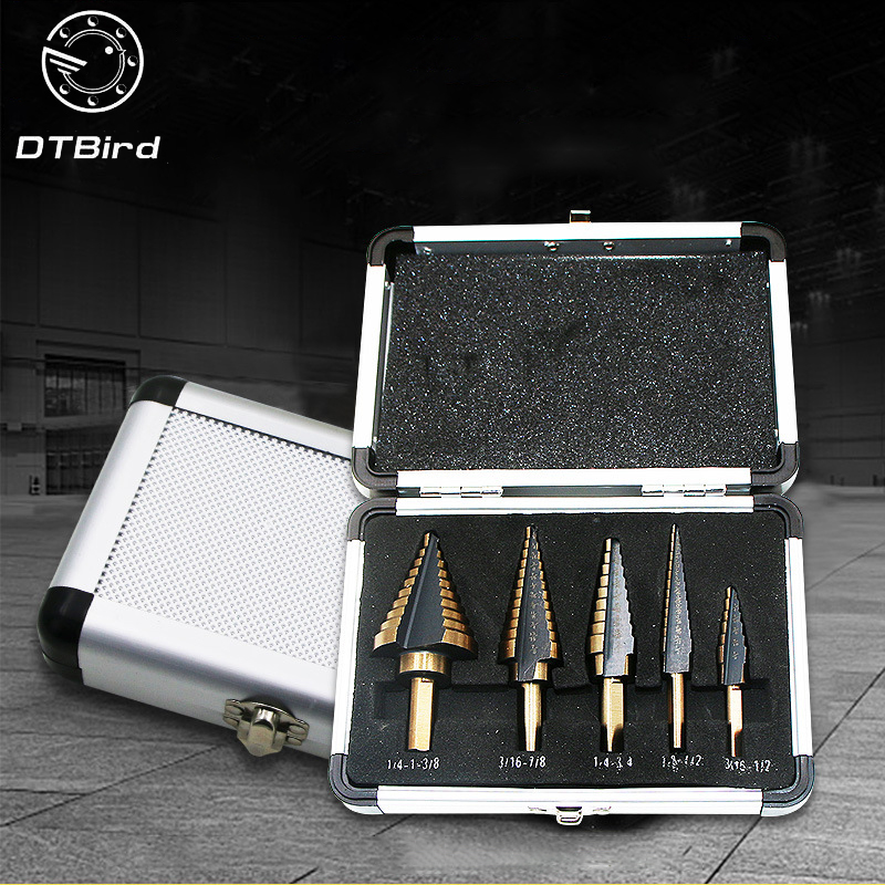 цена на 5pcs Step Drill Bit Set Hss Cobalt Multiple Hole 50 Sizes SAE Step Drills 1/4-1-3/8 3/16-7/8 1/4-3/4 1/8-1/2 3/16-1/2 Drill Bits
