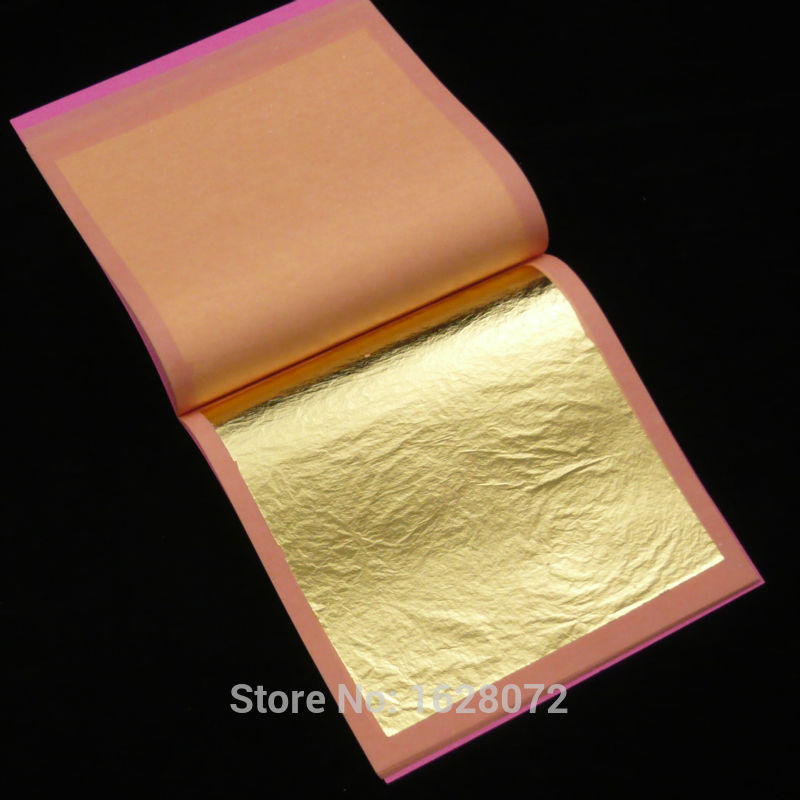 85x85mm Genuine 24K GOLD Leaf 25 Sheets Edible Food Decoration Gold Mask For Cosmetology