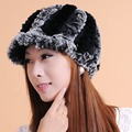 Women warm Knitted Rabbit Fur Hats Natural Stripe cony hair Caps touca feminina winter Beanie Hat gorros mujer invierno A002