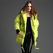 Estação europeu 2017 do sexo feminino inverno 90% de pato para baixo estilo casulo w1434 quente grossa parkas com capuz long down jacket frete grátis